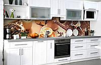 """Скинали на кухню Zatarga """"Кофейная идилия"""" 600х2500 мм виниловая 3Д наклейка кухонный фартук самоклеящаяся для"""
