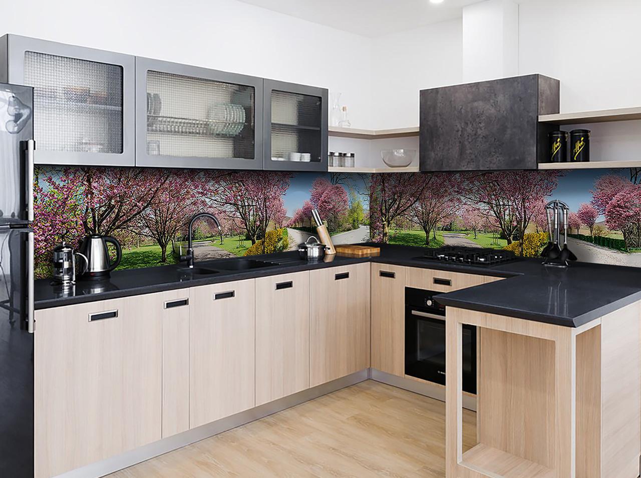 """Скинали на кухню Zatarga """"Цветущий сад"""" 600х2500 мм виниловая 3Д наклейка кухонный фартук самоклеящаяся"""