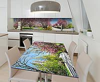 Наклейка 3Д виниловая на стол Zatarga «Цветущий сад» 600х1200 мм для домов, квартир, столов, кофейн,