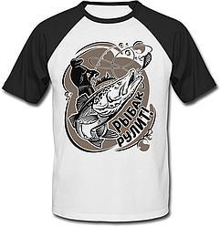 """Мужская футболка """"Рыбак рулит"""" (белая с чёрными рукавами)"""