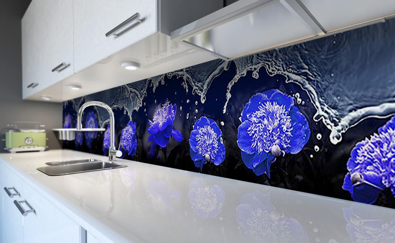 """Скинали на кухню Zatarga """"Синие Пионы Вода"""" 600х3000 мм виниловая 3Д наклейка кухонный фартук самоклеящаяся"""