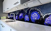 """Скинали на кухню Zatarga """"Синие Пионы Вода"""" 600х3000 мм виниловая 3Д наклейка кухонный фартук самоклеящаяся, фото 1"""