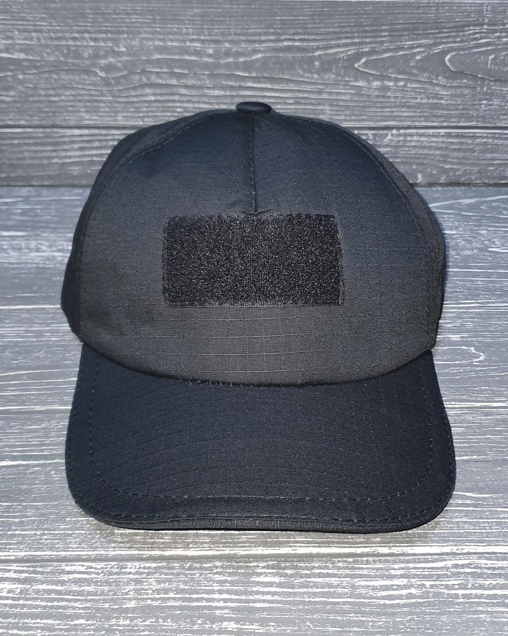 Бейсболка тактическая с налобным шевроном рип-стоп черная