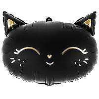 Фольгированный шар Кошечка чёрная 48х36 см (PartyDeco)