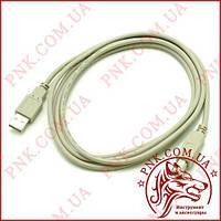 Кабель штекер USB A 2.0 - штекер USB B принтер 1.8м (серый)