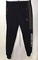 Мужские спортивные штаны под резинку на флисе джордан 48-56 хаки вставка