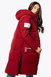 Женский зимний пуховик удлиненный бордовый 70449, фото 3