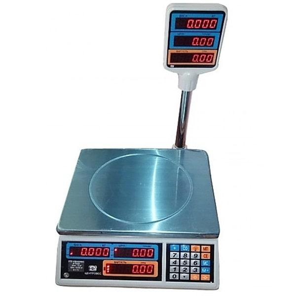 Ваги торгові електронні ВТЕ-Центровес-6Т2-ДВ-(СВ) + RS232 (15 кг)