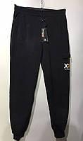Мужские спортивные штаны под резинку на флисе с накладным карманом 46-54 черный