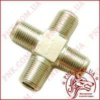 Адаптер F гніздо - 3 гнізда F (4гн.F), корпус метал (2-0116)