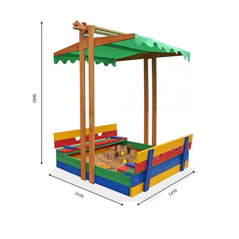 Детская песочница с крышей деревянная цветная