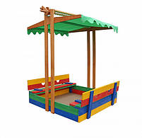 Детская песочница с крышей деревянная цветная, фото 2