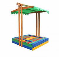 Детская песочница с крышей деревянная цветная, фото 3