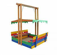 Детская песочница с крышей деревянная цветная, фото 4