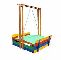 Детская песочница с крышей деревянная цветная, фото 8