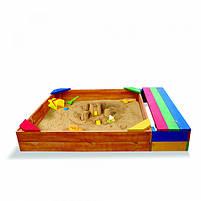 Детская песочница деревянная для детского сада, фото 2