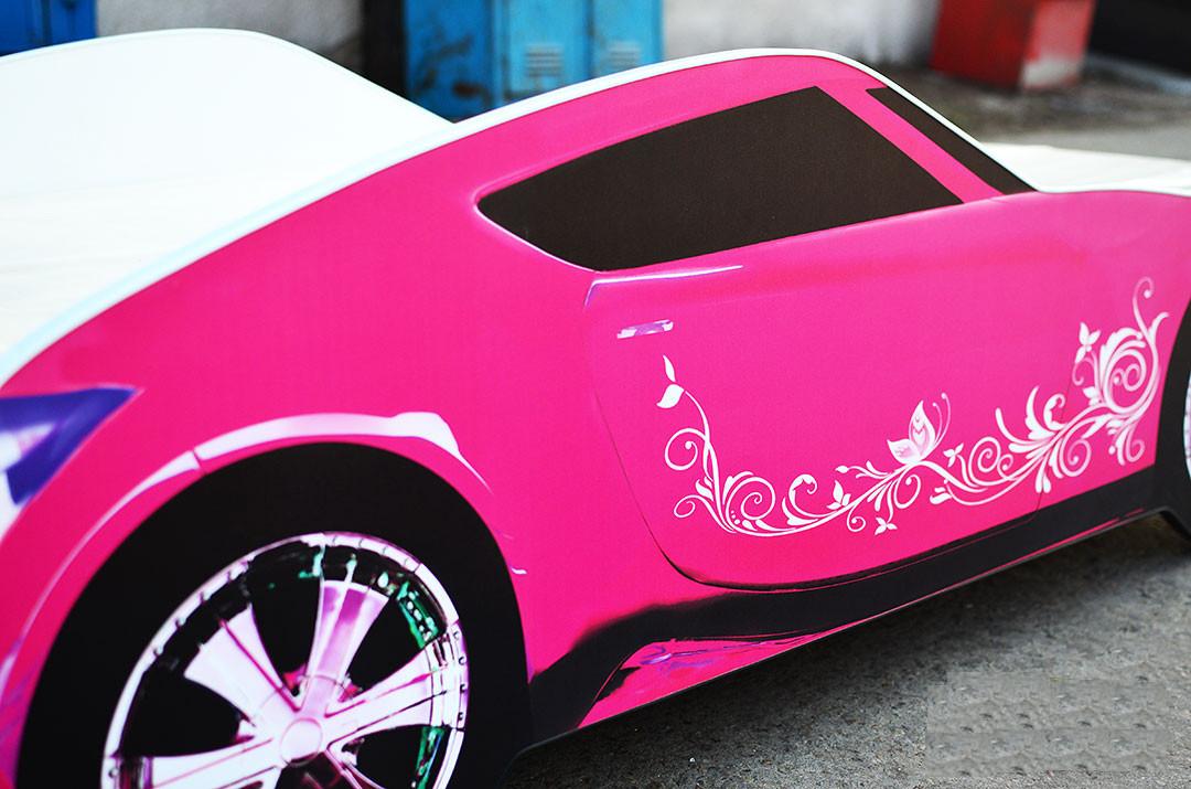 Кровать-машина для девочки Nissan розового цвета Спальное место 170*80 см