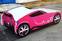 Кровать-машина для девочки Nissan розового цвета Спальное место 170*80 см, фото 3