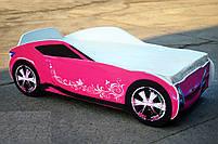 Кровать-машина для девочки Nissan розового цвета Спальное место 170*80 см, фото 4