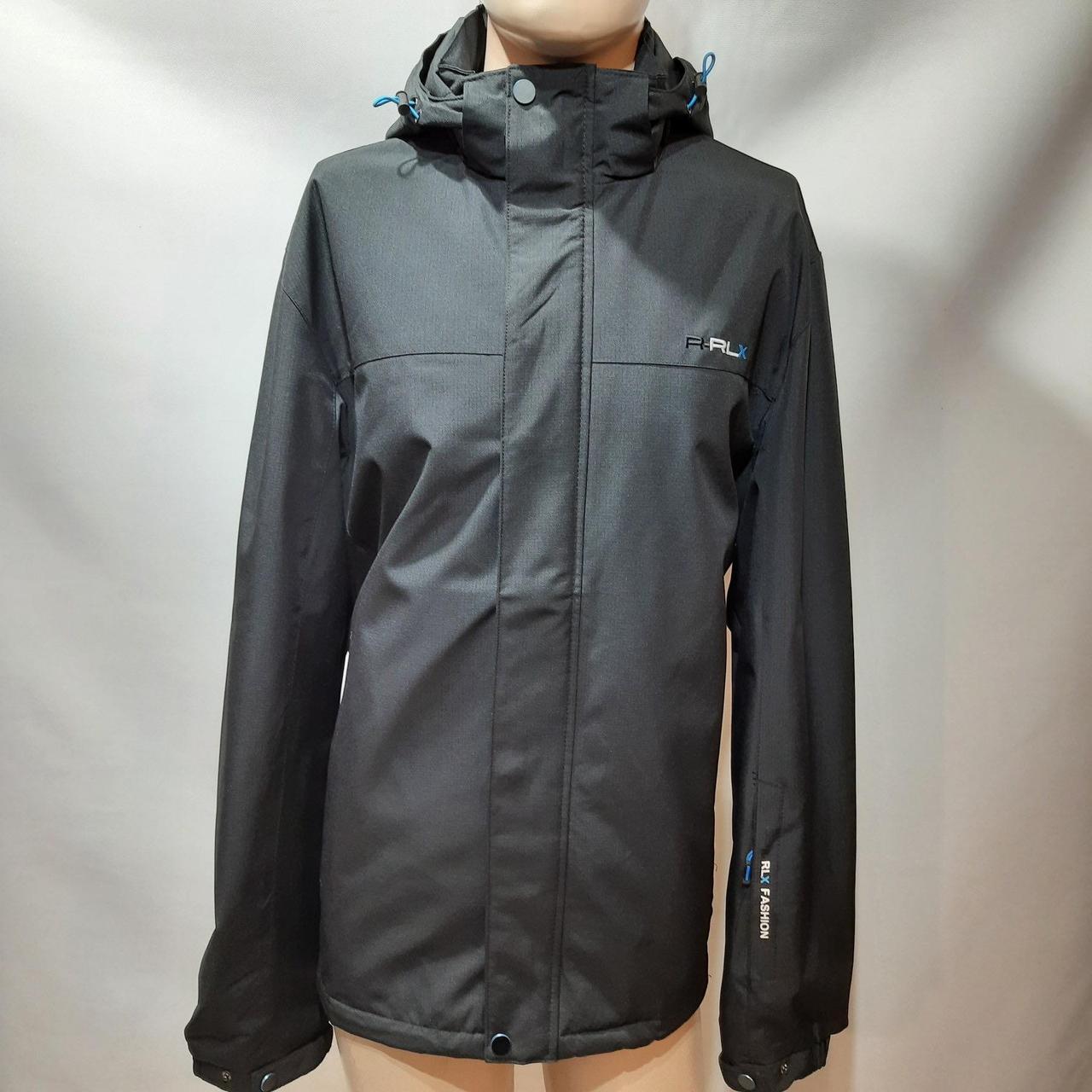 Мужская осенняя куртка р. 60,62,66,68 (Больших размеров) RLX с капюшоном черная