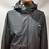 Мужская осенняя куртка р. 60,62,66,68 (Больших размеров) RLX с капюшоном черная, фото 8