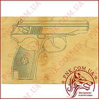"""Дощечка для выжигания """"Пистолет"""" А5, фанера для выжигания"""