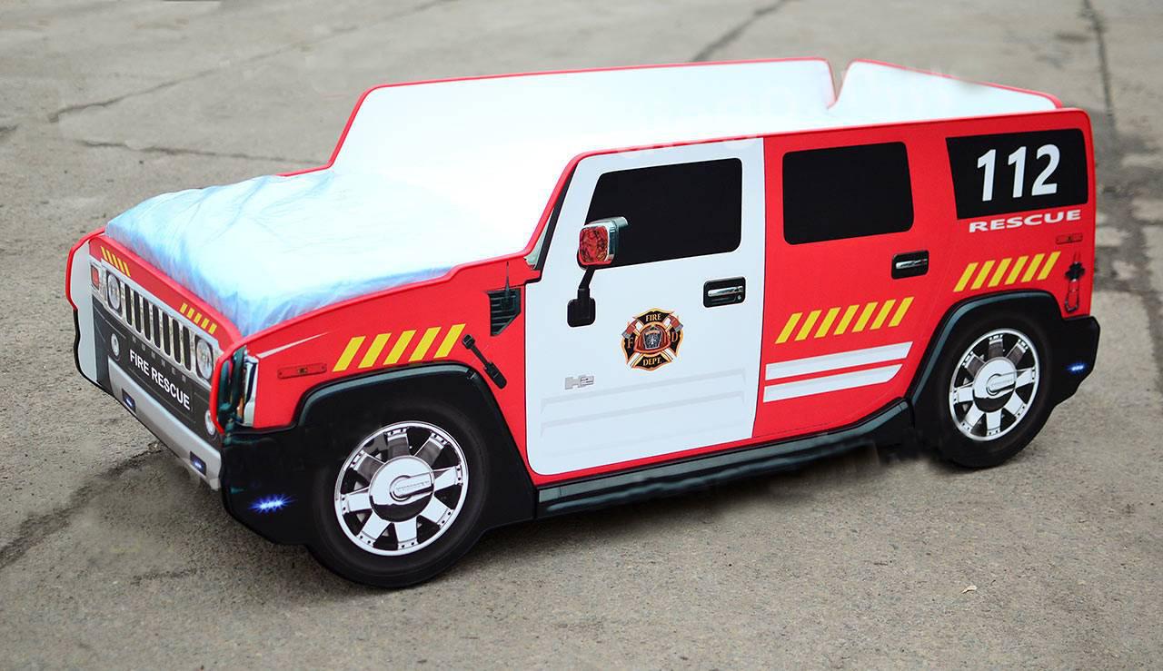 Дитяче ліжко пожежна машина Hummer H2 Спальне місце 170*80 см