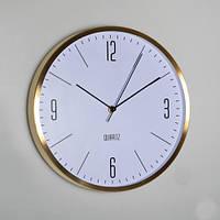 Строгие настенные офисные часы (30х4 см), золото