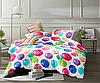Двуспальное постельное белье 180х220 с простыней на резинке (15093) цветной сатин хлопок 100%