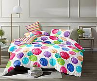 Двуспальное постельное белье 180х220 с простыней на резинке (15093) цветной сатин хлопок 100%, фото 1