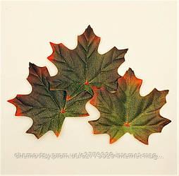 Листья клена, осенние уп. 50 шт., тканевые, темно-зеленые 8х9.5 см, №710