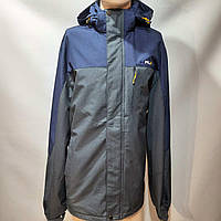 Мужская осенняя куртка RLX р. 64,68 (Больших размеров) с капюшоном синяя с серым
