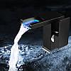 Современный каскадный смеситель с подсветкой для раковины ванной комнаты, черный матовый, фото 9