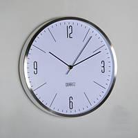 Строгие настенные офисные часы (30х4 см), серебро