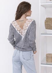 (р.42-48) Женский свитшот с V-вырезом на спине и кружевом vN10171