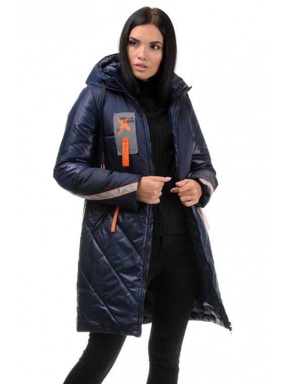 Женская зимняя комбинированная куртка синего цвета