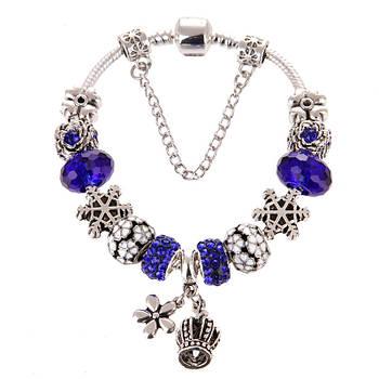 Женский браслет Jewel Antique Silver Plated Snow Blue Cеребристый (AJ_brJJi1)