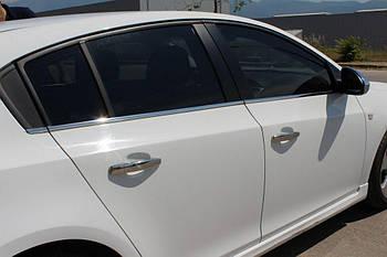 Chevrolet Cruze 2009↗ гг. Молдинги стекол (нерж) Sedan, OmsaLine - Итальянская нержавейка