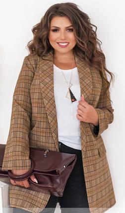 Модный женский пиджак в клеточку, больших размеров от 48 до 62, фото 2