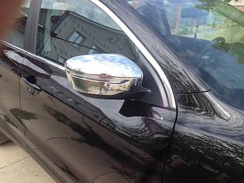 Nissan Qashqai 2014↗ гг. Накладки на зеркала Хром (2 шт, пласт.)
