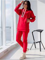 Молодежный красный спортивный костюм: длинная кофта худи и зауженные штаны L