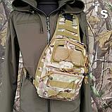 Універсальна тактична сумка-рюкзак через плече повсякденна H&S Tactic Bag 600D мультікам, фото 10