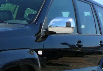 Toyota LC 120 Prado Накладки на зеркала (2 шт, нерж) OmsaLine - Итальянская нержавейка