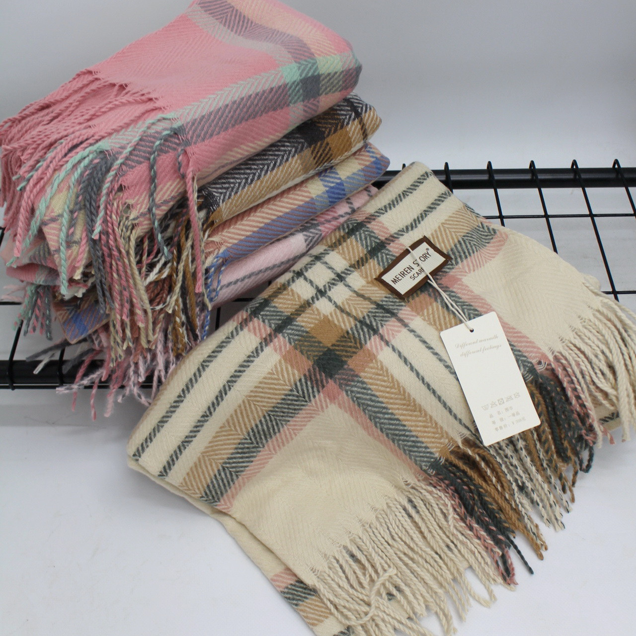 Кашемировый теплый шарф палантин  Cashmere 107040 Бежевый