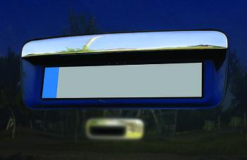 Volkswagen Caddy 2004-2010 гг. Накладка над номером (1 дверн, нерж) OmsaLine - Итальянская нержавейка (с надписью)