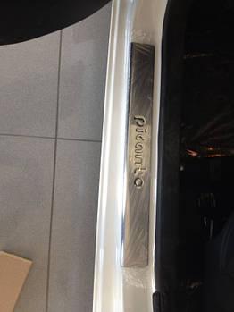 Kia Picanto 2011-2016 гг. Накладки на пороги OmsaLine (4 шт, нерж)