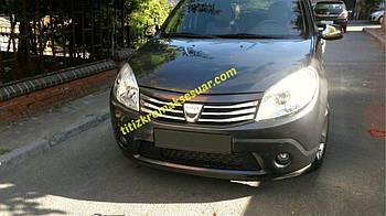 Dacia Sandero 2007-2013 гг. Накладка на переднюю решетку (нерж.)