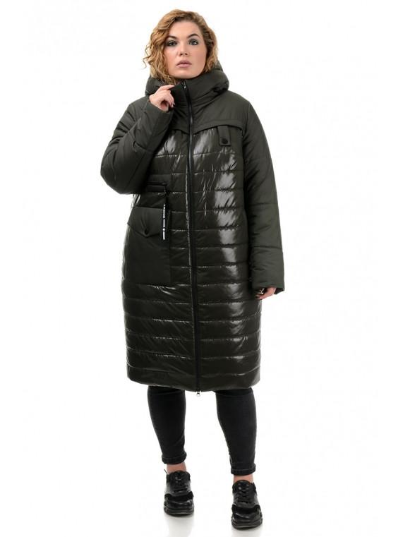 Женское зимнее стеганое пальто цвета хаки