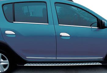 Dacia Logan MCV 2013↗ гг. Накладки на ручки (4 шт, нерж.) OmsaLine - Итальянская нержавейка