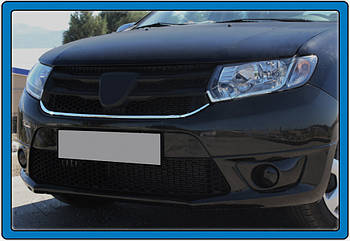 Dacia Logan MCV 2013↗ гг. Накладка под решетку (1 шт, нерж.)